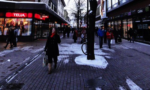 Swedish Christmas shoppers.