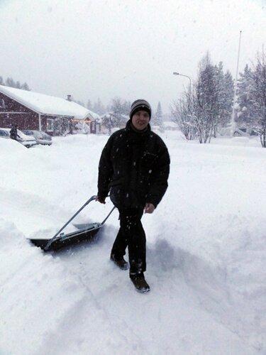 Johan carves a path through the snow.