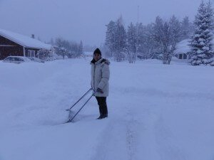 Shoveling snow in Sweden
