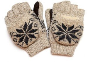 pair of warm knitted gloves