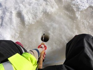 ice fishing in action