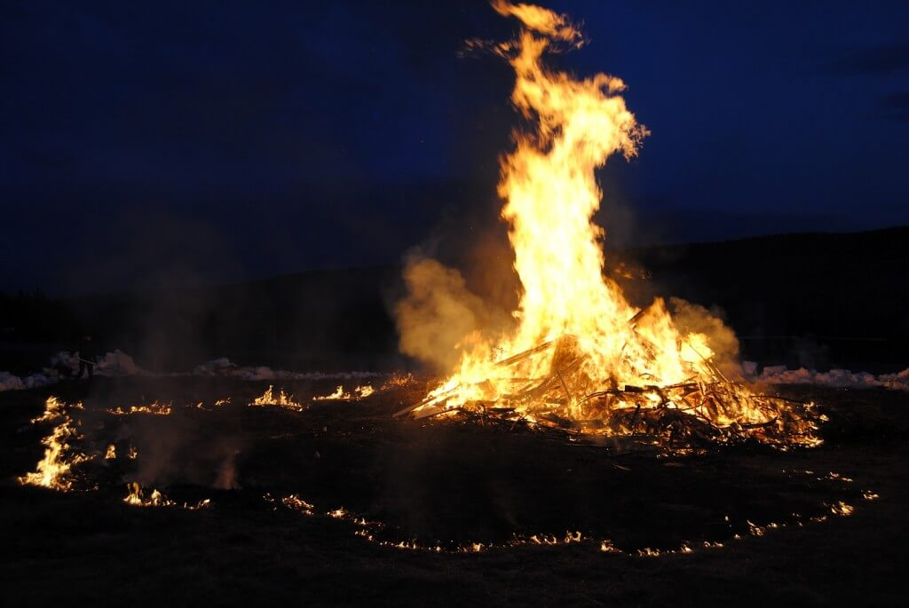 Making a bonfire on Walpurgis Night is a tradition in most of Sweden.