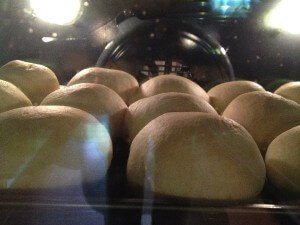 Semlor in the oven