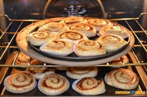 kanelbullar in the oven