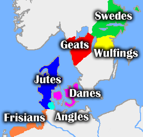 Nordic geography and peoples, according to Beowulf.(Picture from Wikipedia)
