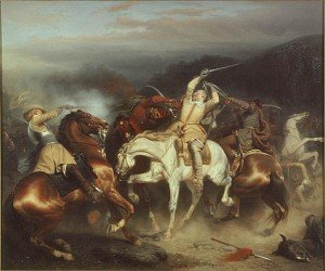 Gustav II Adolf in the battle at Stuhm. Oil on canvas by Carl Johan WahlbomNational Museum of Fine Arts