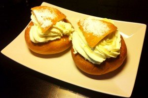 """Semlor, a highly cherised Swedish pastry, traditionally available only during Lent (the 40 days before Easter).In old times served as a dessert floating in a bowl of hot milk, today usually eaten with your coffee, i.e. """"fika""""."""