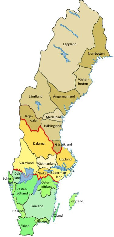 Sweden's provinces and country parts