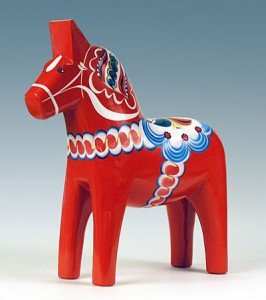 The red Dalecarlian horse, sometimes used as a symbol for Sweden, is a traditional toy/trinket that has been manufactured in the province Dalarna since the 17th century.