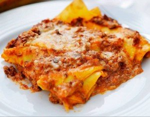 A tasty and wholesome serving of lasagne, possibly made with horse meat.