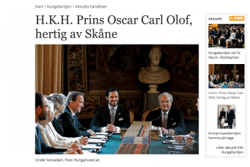 Named Prince Oscar of Sweden