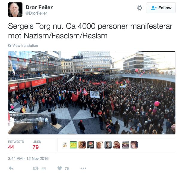 anti nazi protest stockholm