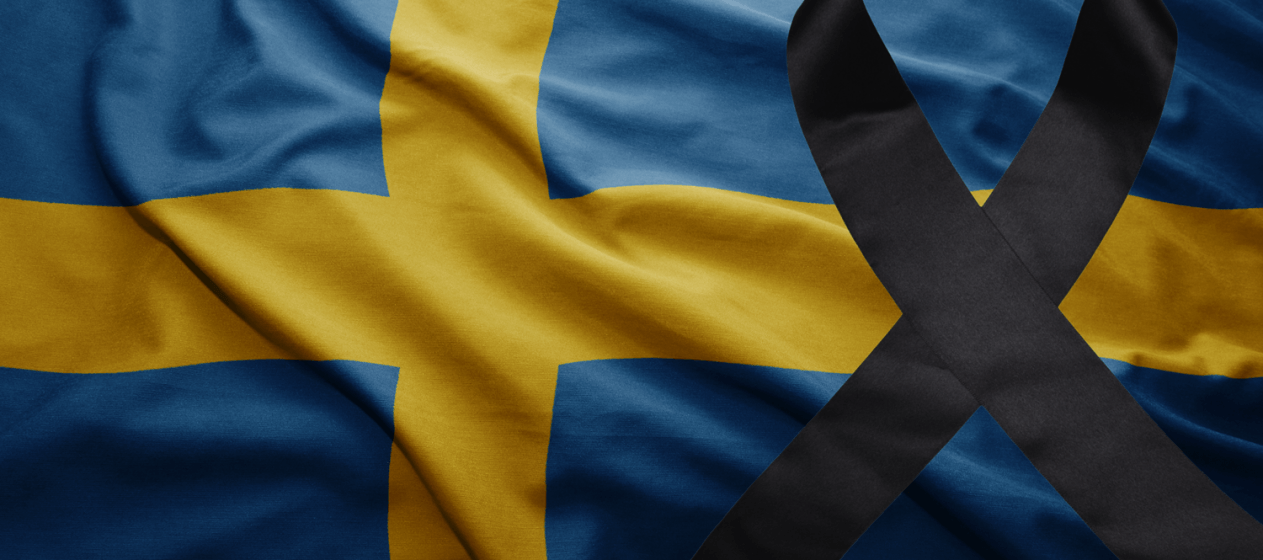 Swedish flag mourning