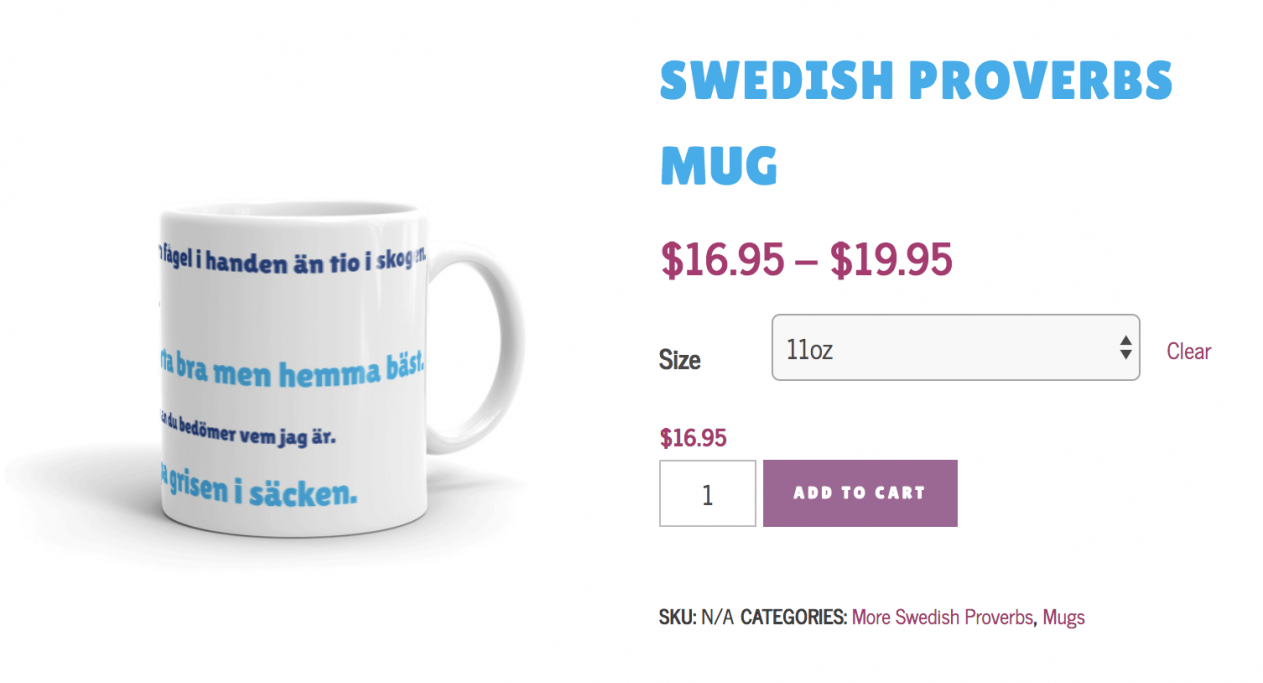 Swedish Proverbs Mug