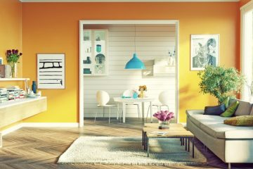 Orange Scandinavian Living Room Design